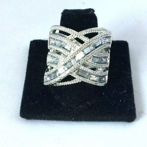 White CZ Silver Plated Cocktail Ring